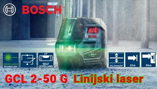 BOSCH GCL 2-50G Professional ZELEN linijski laser za notranje površine