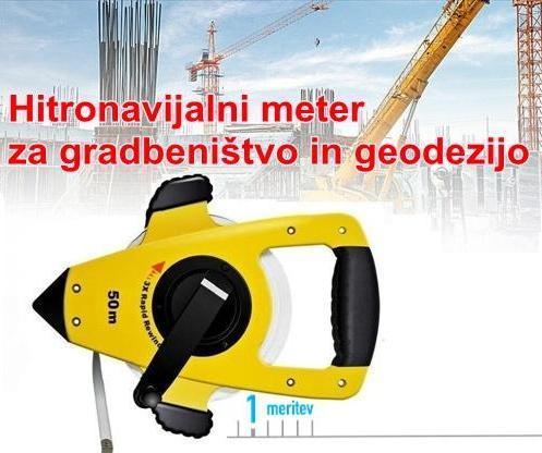 Hitronavijalni Geodetski meter na vilicah 50m trakmeter