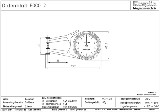 """Kroeplin POCO """"k merilna ura za merjenje debeline materiala - tehnična rusba"""